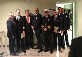 Members A. Llewellyn, E. Zeller, J. Harwayne-Gidansky, T. Mertens, and M. Melynchuck after receiving their REMSCO EMS awards.