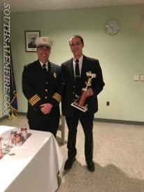 Winner of Inspection Best Apparatus for Rescue 21, Lt T. Mertens with Chief A. Scott.
