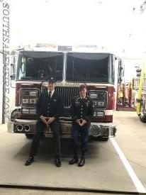 FF B. Gossett in front of E166 with Gabe Frolick.